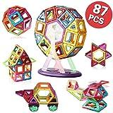 マグネットブロック 磁気おもちゃ 知育玩具 磁石ブロック マグネット3d立体パズル 外しにくい 磁石付き積み木 87ピース入り カラフル磁性構築ブロックのおもちゃ 多彩 magnet 磁気建設玩具 AUGYMER想像力と創造力を育てる知育 玩具 空間認識能力 男女の子のおもちゃ お祝いプレゼント モデルDIY(車輪・支架セット付き)