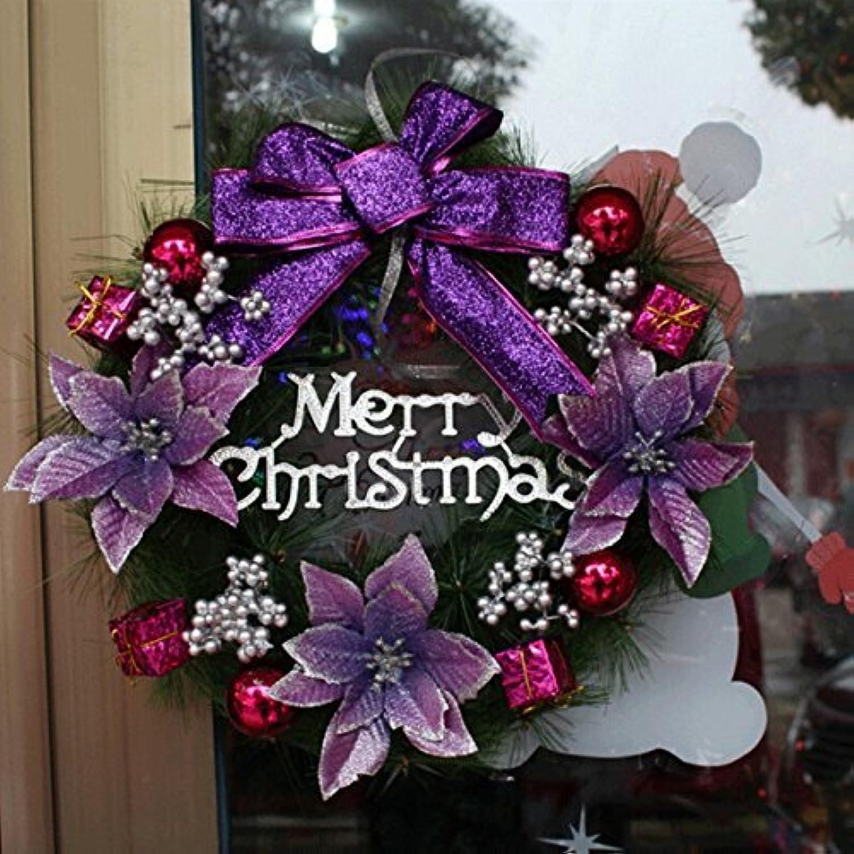 Yesurprise クリスマスリース 飾り 花 リボン ボール プレゼント デコレーション 華やか 30cm クリスマス用品 パープル