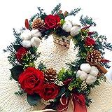 プリザーブドフラワー真紅の薔薇と真っ白な綿の実のクリスマスリース 室内用