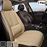 Black Panther Car Seat Cover, 1 Piece Universal Sideless Driver Seat Protector, with Lumbar Support and Headrest Cover (Beige