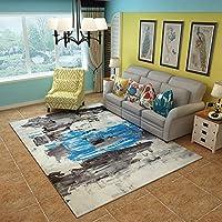 カーペット敷物ヴィンテージ文学的なスタイリッシュなリビングルームコーヒーテーブルベッドルームベッドサイドカーペットインクデザインパターンフランネル (Size : 180 * 280cm, Style : S-1)