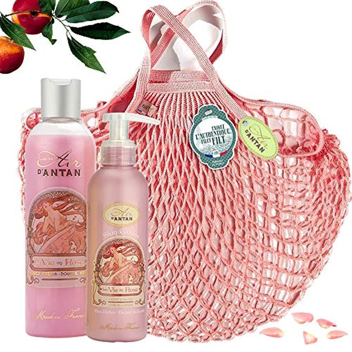 元のパスポートショッピングセンターROSE Woman Beauty Set - ロトデュオバス&ネットフィットケア:1シャワージェル250ml、1ボディローションモイスチャライザー200ml - ピンクの香水、ピーチ、パチョリ - 記念日のギフトのアイデア、フランス製