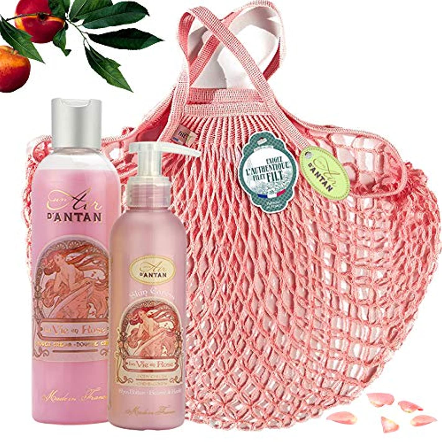 統計的イサカ航海ROSE Woman Beauty Set - ロトデュオバス&ネットフィットケア:1シャワージェル250ml、1ボディローションモイスチャライザー200ml - ピンクの香水、ピーチ、パチョリ - 記念日のギフトのアイデア、フランス製