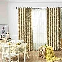 Mangjiu カーテン 玄関 寝室 1枚 葉薄手のカーテンチュールウィンドウトリートメントボイルドレープバランス1パネル生地 (黄)