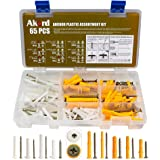 AKORD Anchor Plastic Assortment Kit, Nylon Mushroom Head, Yellow Screw Hole Fillers, for Drywall, Hollow Wall, 2 Types & 8 Si