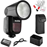 【Godox正規代理&技適マーク】Godox V1-S フラッシュストロボ 76Ws 2.4G TTLラウンドヘッドフラッシュスピードライト 1/8000 HSS 480フルパワーショット10レベルLEDモデリングランプ Sonyカメラ対応 (カラー