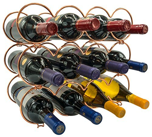 (Round Copper) - Sorbus 3-Tier Stackable Wine Rack - Round Classic Style Wine Racks for Bottles - Pe...