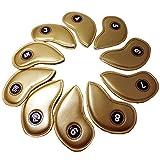 ルルハウス 選べる カラー ゴルフ アイアンカバー 10個セット 3-9 A PW SW エナメル レッド ダークブルー ホワイト 赤 白 濃紺 黒 ゴールド (ゴールド)