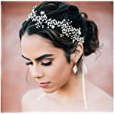 SWEETV Crystal Wedding Headband Silver Bridal Headpiece for Brides Pearl Hair Vine Rhinestone Hair Accessories for Women