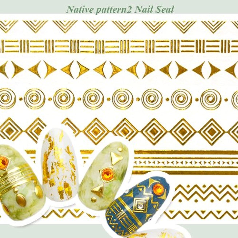 南不幸宴会【G091】ネイティブ柄ゴールドネイルシール2 エスニックラインシール ジェルネイル