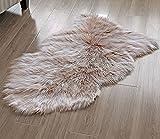 HAOCOO 羊毛ラグ装飾の豪華に柔らかいウールの椅子カバーシートパッド無地シャギー区域敷物床のベッドルームのマット(ライトコーヒー)