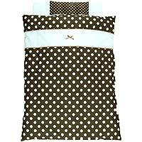 「 日本製 」 ベビー布団セット ミニベッド サイズ 8点セット   シャボン玉モカ茶   ( リボンがかわいいドットのデザイン )