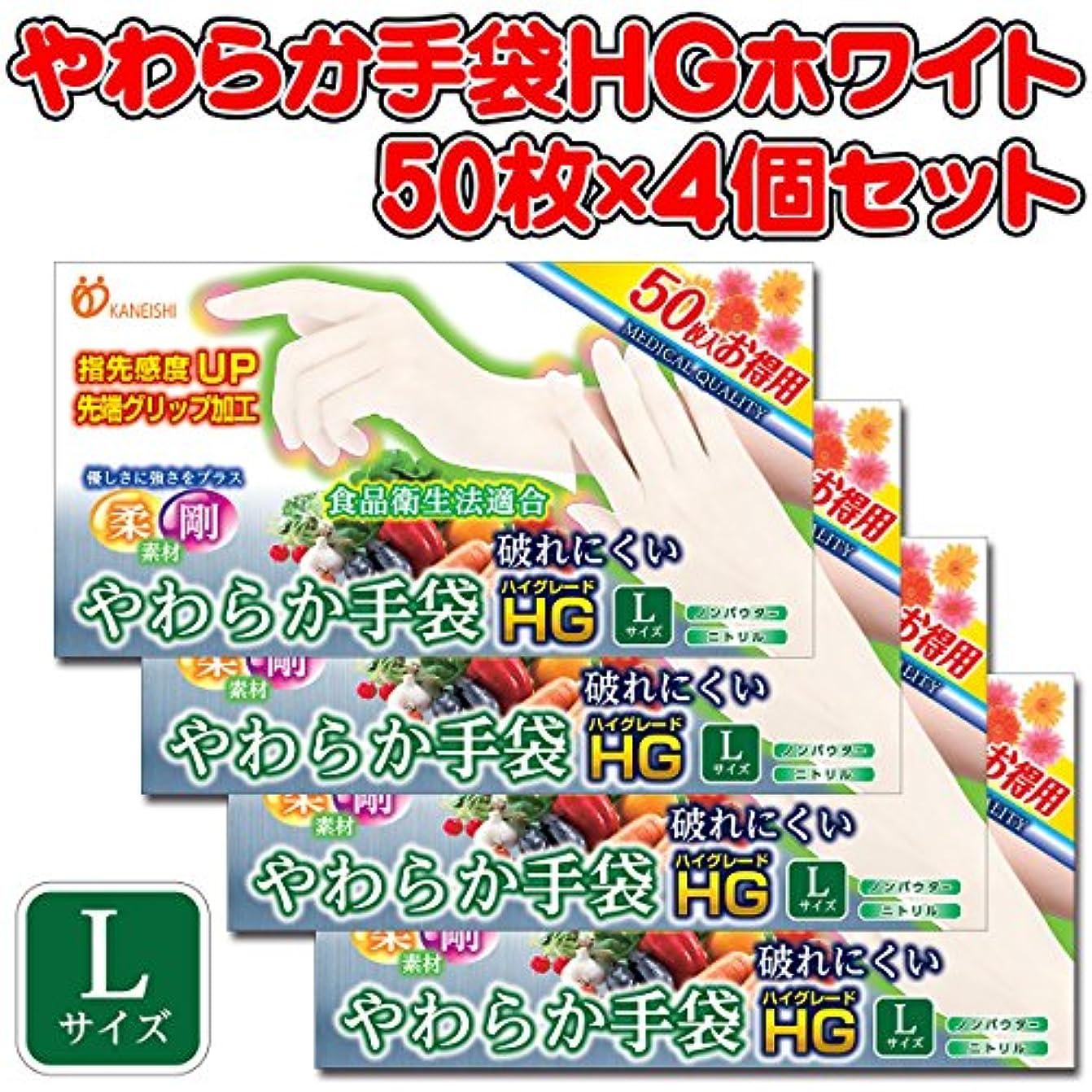 あごひげ消毒剤ガレージやわらか手袋HG 二トリル手袋 パウダーフリー Lサイズ 50枚×4個セット(単品1個)