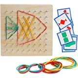 Kizh Wooden Geoboard Mathematical Manipulative Material Graphical Educational Toys Array Block Geo Board Pattern Cards and Ru