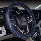 2019 New Microfiber Leather Car 14 15 16 Small Medium Large Steering Wheel Cover for Women (14.5-15''(fit for Mostly Cars), B