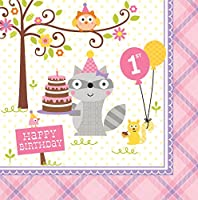 HAPPI WOODLAND GIRL L/NAPKINS 1ST B/DAY 3 PLY 33CM (13)