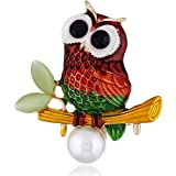 Cute Owl Brooches for Women Girls Fashion Antique Gold Tone Alloy Pearl Resin Cute Colourful Bird Animal Brooch Pins Scarves