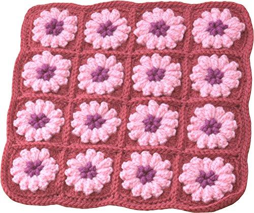 ハマナカ 編み物キット ハマナカボニーでつくる! あったか角座 お花モチーフつなぎの角座 ピンク系 H303-165-2