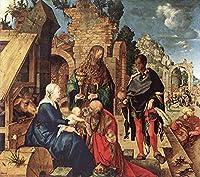 手描き-キャンバスの油絵 - Adoration of the Magi アルブレヒト・デューラー 芸術 作品 洋画 ウォールアートデコレーション -サイズ14