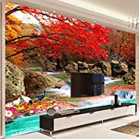 Mingld 中国風の3D壁画壁画壁紙自然の風景Xiangshan赤い葉クレーン写真の壁紙壁画3D部屋の風景-250X175Cm