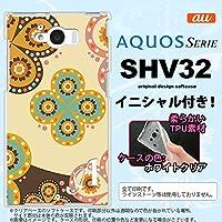 SHV32 スマホケース AQUOS SERIE カバー アクオス セリエ ソフトケース イニシャル エスニック花柄 ベージュ×茶 nk-shv32-tp1583ini P