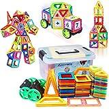 磁石ブロック マグネット おもちゃ 知育玩具 子供プレゼント マグネットブロック 磁気ブロック76個 他の車輪・パネルパーツ44個 マグネット パズル 立体 外しにくい 磁石 積み木 カラフル磁性構築ブロック AUGYMER想像力と創造力を育てる知育 おもちゃ 男の子 女の子 おもちゃ 贈り物 誕生日 プレゼント 出産祝い 入園 クリスマスギフトDIY 収納ケース付き