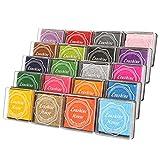 カラーパッドインクパッド DIYカラー、20色レインボーフィンガーインクパッド(20個入り)