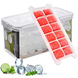 Ice Cube Trays and Ice Cube Storage Container Set With Airtight Locking Lid, 3 Packs / 36 Big Trapezoid Ice Cubes, Stackable