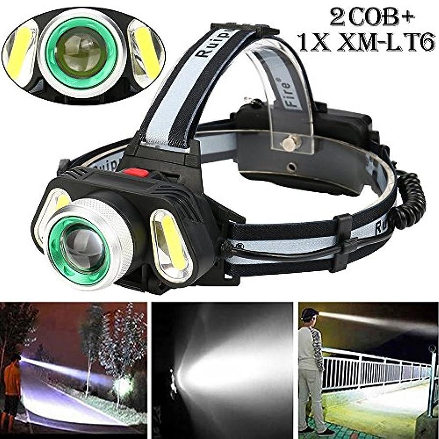 トランスペアレント誓約成長ヘッドライト TangQI LED 超強力 軽量 アウトドア ヘッドランプ セット 5x XM-L T6 ズーム可能 充電式 2 x 18650バッテリー3.7v 4モード 作業 夜釣り 工事 自転車 船検用品 停電対応