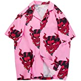Womens Hawaiian Shirt Short Sleeve Devil Print Blouse Tops Button Down Shirts