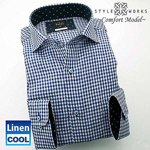 (スタイルワークス) メンズ長袖ワイシャツ カッタウェイ ワイドカラー チェック | 青
