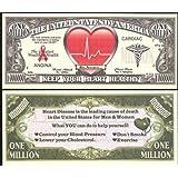 Heart Disease Awareness Million Dollar Novelty Bill - Lot of 100 Bills [並行輸入品]