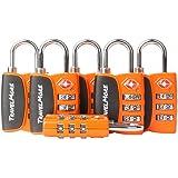 6 Pack Open Alert Indicator TSA Approved 3 Digit Luggage Locks for Travel Suitcase & Baggage (Orange)