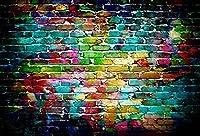 Qinunipoto 1.5m*1mカラフルなレンガの壁の背景抽象的なカラフルなレンガの壁の家の装飾