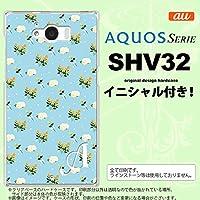 SHV32 スマホケース AQUOS SERIE カバー アクオス セリエ イニシャル 花柄・バラ(E) 水色 nk-shv32-249ini Y