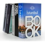 Book Ends - Decorative Metal Book Ends Supports for Bookrack Desk,Books, Unique Appearance Design,Heavy Duty (White)