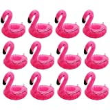 Inflatable Floating Flamingo Drink Holder 12 Pack Swimming Pool Float Coasters Coke Cup Holder for Beverage Cans Cups & Bottl