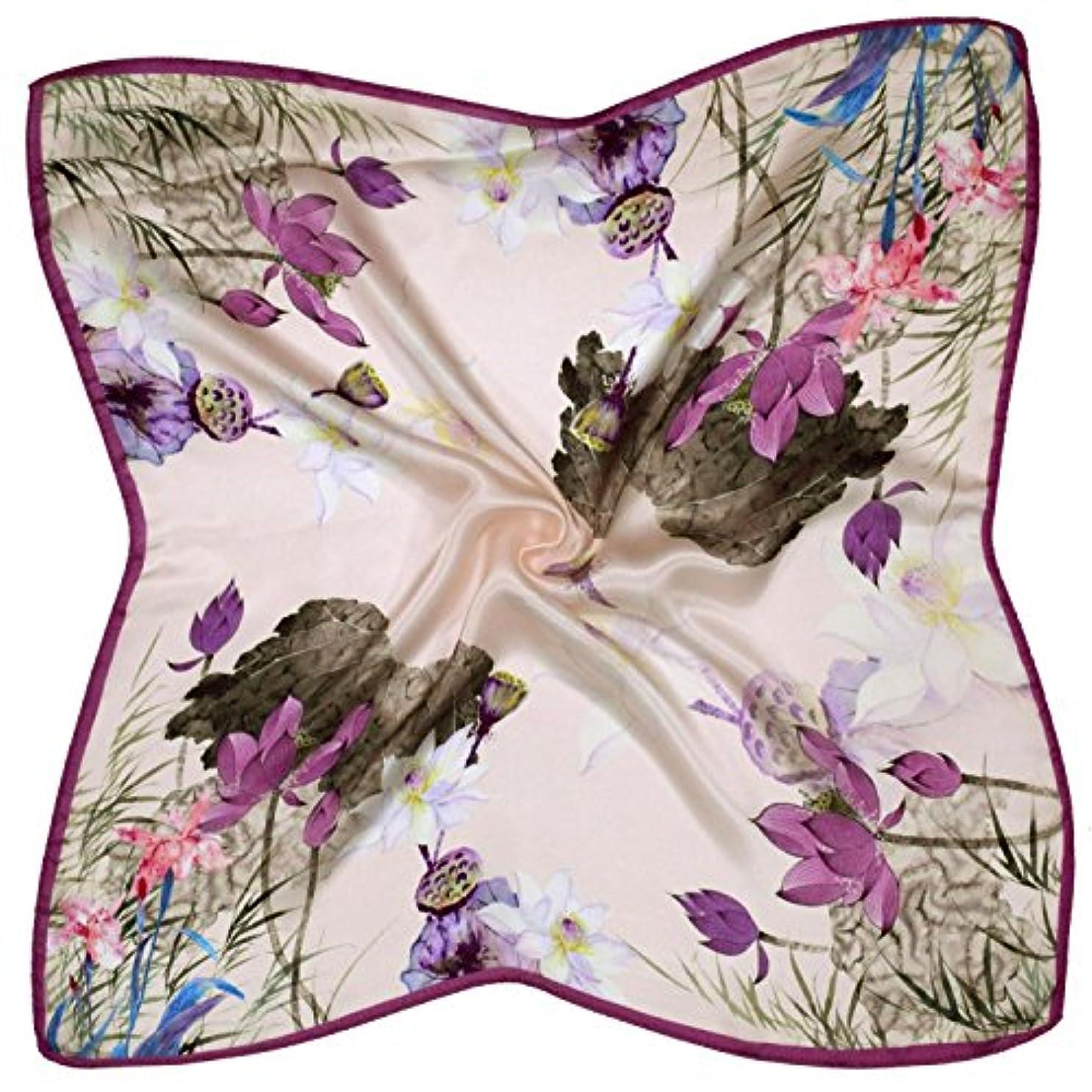 舞い上がるグロー急速なパープルクリーム花印刷厚い小さな正方形シルクスカーフ
