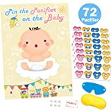 Pin The Pacifier On The Baby Game for Baby Shower Decorations Kids Birthday Party Supplies, Large Baby Shower Games Poster 72