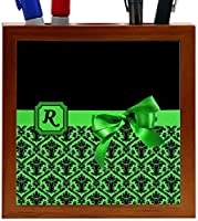 Rikki Knight Letter R Green Monogram Damask Bow Design 5-Inch Tile Wooden Tile Pen Holder (RK-PH41957) [並行輸入品]