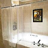 wendana シャワーカーテン バスカーテン 防カビ おしゃれ 半透明 幅180cmx丈180cm PVC