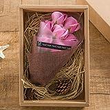 KIZAWA  枯れない花 ソープ フラワー プレゼント 大切な人 へ 感謝 の 気持ち を 伝える 花束 ( 母の日 ・ バレンタイン ・ ホワイトデー ・ 入学 ・ 卒業 ・ 誕生日 ・ 結婚記念日 など 様々な お祝い の シーン に 最適 ) (7本, ピンク)