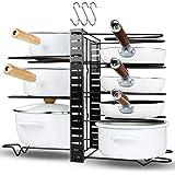 MOKARO Pot Rack Organizer 8 Tiers Pans Racks for Cabinet Adjustable Pot Lid Holders with 3 DIY Methods Lengthened Metal Pots