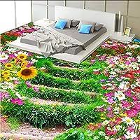Mingld 牧歌的な壁の壁画注文の床の壁紙3Dの花および草の写真の壁紙の寝室のビニールの摩耗の自己接着壁紙-200X140Cm