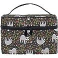 senya Cosmetic Bag Cute Sloth Animal Floral Travel Makeup Organizer Bag Portable Train Case for Women Girls