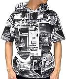 B ONE SOUL(ビーワンソウル) Tシャツ パーカー フード付き 総柄 ボックス ロゴ 半袖 メンズ 柄1 M