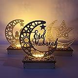 Mobestech 3pcs Wooden Eid Mubarak Table Decoration LED Ramadan Moon Night Light Table Lamp Eid Mubarak Gift No Battery Random