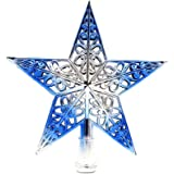Soochat Christmas Star Tree Topper Hollowed-Out Silver Glittered Metal Hallow Tree Star Unique Design Xmas Tree Topper Decora
