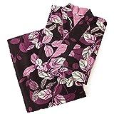 (リョウコキクチ)RK 二部式 着物 Ryoko kikuchi 袷 小紋 洗える着物 セパレート A (濃紫色に葉/裏地:紫)