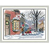Anself DIY クロスステッチ 刺繍キット 14CTクリスマスの街並み柄 52*39cm ホームの装飾